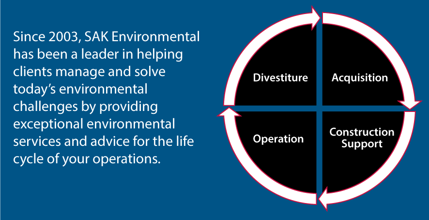 Since 2003, SAK Environmental has been a leader in helping clients manage and solve today's environmental challenges by providing exceptional environmental services and advice for the life cycle of your operations.